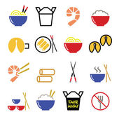 Chinese take away food icons - pasta, rice, spring rolls, fortune cookies — Stock Vector