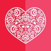 Valentijnskaart - Poolse volkskunst hart Wycinanka — Stockvector