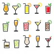 Cocktails, drinks glasses vector icons set — Stock Vector #61687241