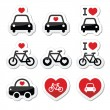 I love cars and bikes icons set — Stock Vector #61694205