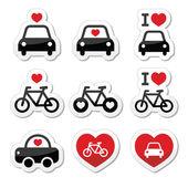 Me encantan los coches y las bicis iconos conjunto — Vector de stock