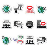 International Mother Language Day icons set — Stock Vector