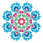 Polish round folk art pattern - Wzory Lowickie, Wycinanka — Stock Vector #63549921