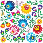 Floral Polish folk art pattern in square - Wzory Lowickie, Wycinanki — Stock Vector