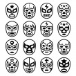 Постер, плакат: Lucha Libre Mexican wrestling masks line black icons