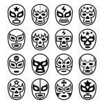 Постер, плакат: Lucha Libre Mexican wrestling masks line black icons