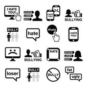 Cyberbullying vector icons set — Stock Vector