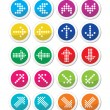 Dotted colorful arrows round icons set isolated on white — Stock Vector #64511129