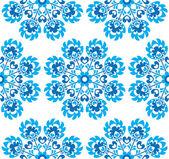 Sömlös blå blommig polsk folkkonst mönster - wzory lowickie, wycinanki — Stockvektor