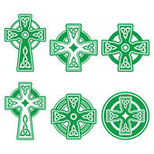 Irish, Scottish Celtic green cross on white vector sign — Stock Vector