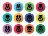 Lucha libre, jako piksele mexican wrestling maski ikony czarny — Wektor stockowy