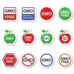 GMO żywność, nie gmo lub gmo free Ikony Ustaw — Wektor stockowy  #66290567