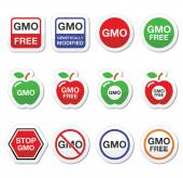GMO food, no GMO or GMO free icons set — Stock Vector