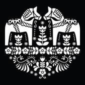 Swedish Dala or Daleclarian horse floral folk pattern on black — 图库矢量图片
