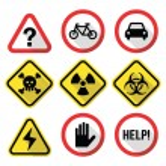 Warning signs - danger, risk, stress - flat design — Stock Vector #67321335