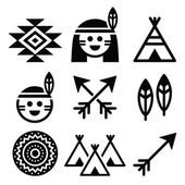 Indian American, indigenous people and culture icons set — Stock Vector