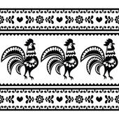 Seamless Polish monochrome folk art pattern with roosters - Wzory lowickie — Stock Vector