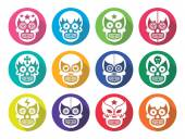 Lucha Libre - Mexican sugar skull masks flat design — Stock Vector