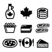 Canadian food icons - maple syrup, poutine, nanaimo bar, beaver tale, tourtière — Stock Vector