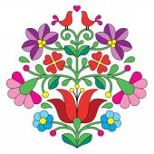 Kalocsai embroidery - Hungarian floral folk pattern with birds — Stock Vector