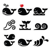 Whale, sea or ocean waves icons set — Stock Vector