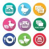 Foie gras, duck or goose flat design icons set — Stock Vector