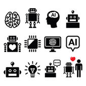 Artificial Intelligence (AI), robot icons set — Stock Vector
