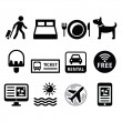 Travel and tourism, booking holidays icons set — Stock Vector #70275393