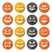 Scary Halloween pumpkin faces flat design icons set — Stock Vector