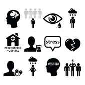 Mental health icons - depression, addiction, loneliness concept — Stock Vector
