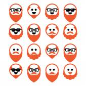 Bald man with ginger beard and mustache icons set — Stock Vector