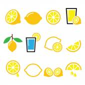 Lemon, lime - food icons set — Stock Vector