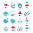 Rain, thunderstorm, heavy clouds  vector icons set — Stock Vector #71087865