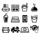 Take away box, meal vector icons set — Stock Vector
