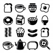 Breakfast food vector icons set - toast, eggs, bacon, coffee — Stock Vector #72061367