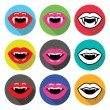 Vampire mouth, vampire teeth vector flat design icons set — Stock Vector #72379107