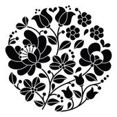 Kalocsai black embroidery - Hungarian round floral folk pattern — Stock Vector