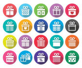 Present, gift box vector flat design icons set — Stockvector
