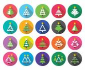 Christmas green tree - various types vector flat design icons set — Stock Vector