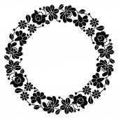 Kalocsai black embroidery in circle - Hungarian floral folk pattern — Stock Vector