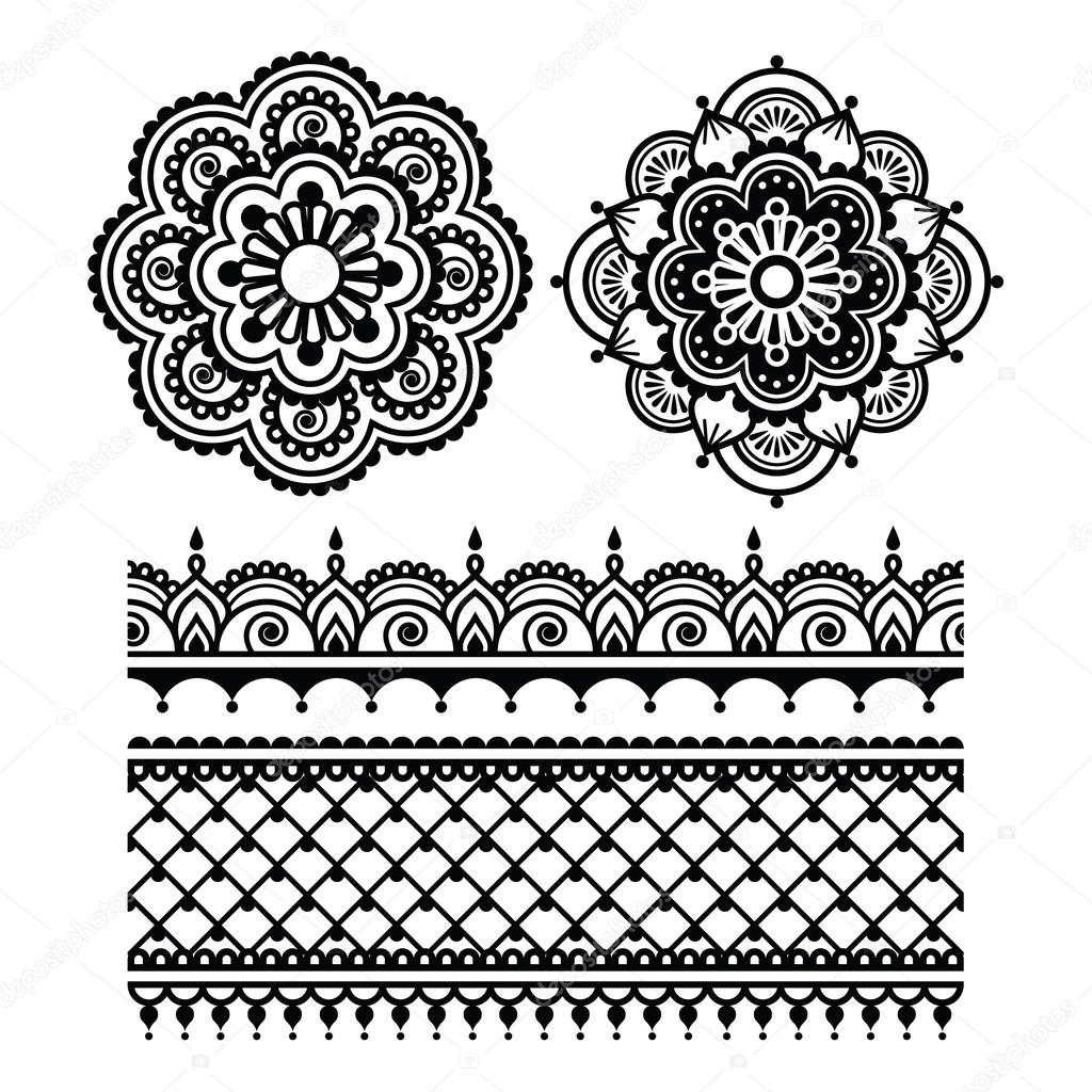 Mehndi Indian Henna Tattoo Seamless Pattern  Stock Vector 73032305
