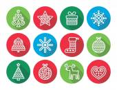 Christmas flat icons icons - Xmas tree, present, reindeer — Stock Vector