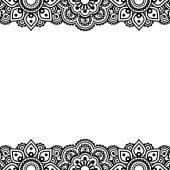 Менди, Индийская хна татуировки дизайн - открытка, кружева украшение — Cтоковый вектор
