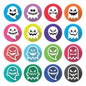 Définir des icônes du design plat esprit fantôme effrayant d'Halloween — Vecteur