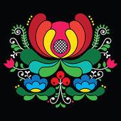 Norwegian folk art pattern - Rosemaling style embroidery on black — Stock Vector