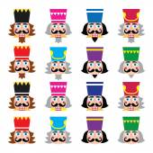 Christmas nutcracker - soldier figurine head icons set — Stock Vector