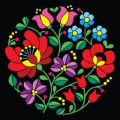 Kalocsai embroidery - Hungarian round floral folk pattern on black — Stock Vector
