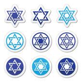 Juif, étoile de david icônes définies isolé sur blanc — Vecteur