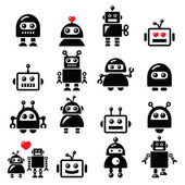 Male and female robot, Artificial Intelligence (AI) icons set — Stock Vector