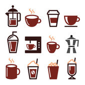 Coffee drinks, coffee makers icons set — Stock Vector